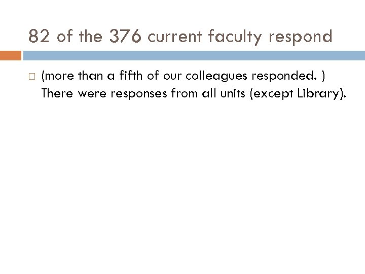 82 of the 376 current faculty respond (more than a fifth of our colleagues