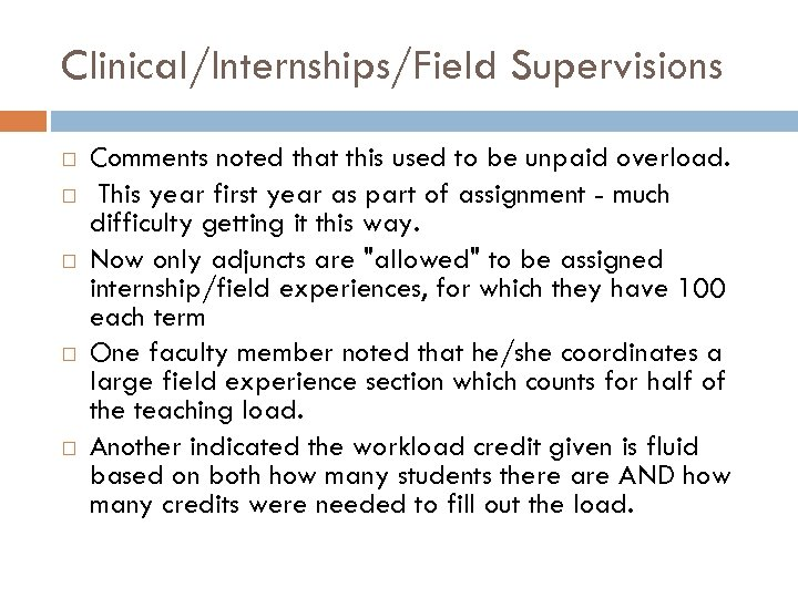 Clinical/Internships/Field Supervisions Comments noted that this used to be unpaid overload. This year first