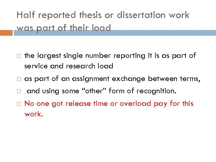 Half reported thesis or dissertation work was part of their load the largest single