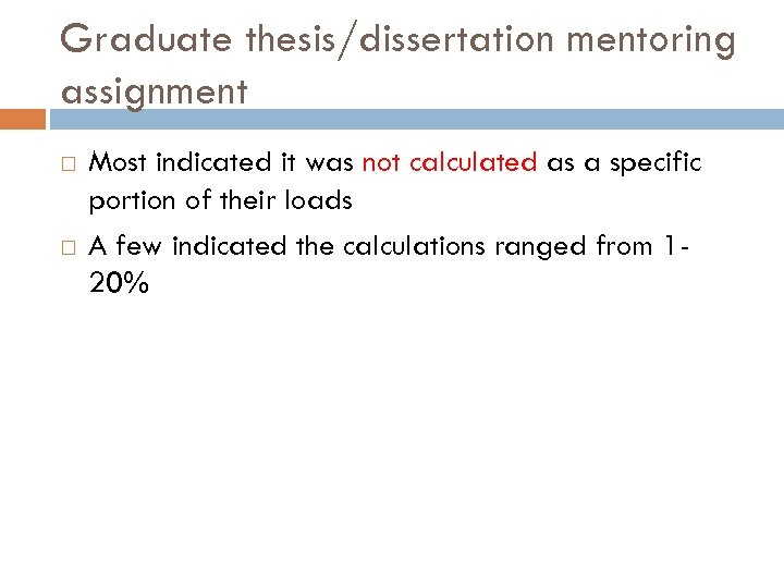Graduate thesis/dissertation mentoring assignment Most indicated it was not calculated as a specific portion