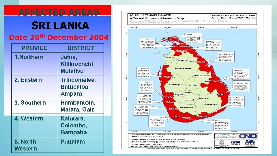 AFFECTED AREAS SRI LANKA Date 26 th December 2004 PROVICE DISTRICT 1. Northern Jafna,