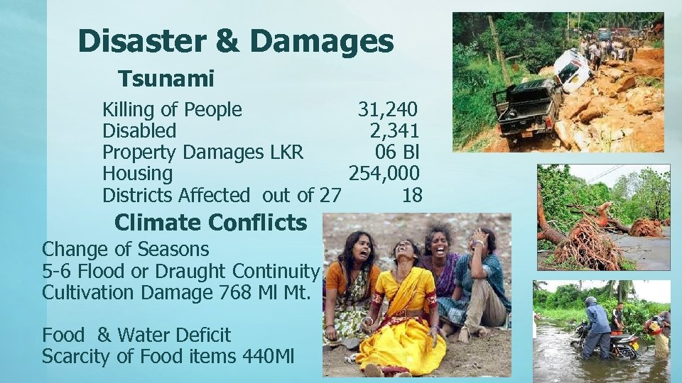 Disaster & Damages Tsunami Killing of People 31, 240 Disabled 2, 341 Property Damages