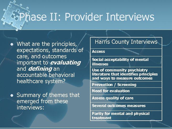 Phase II: Provider Interviews l l What are the principles, expectations, standards of care,