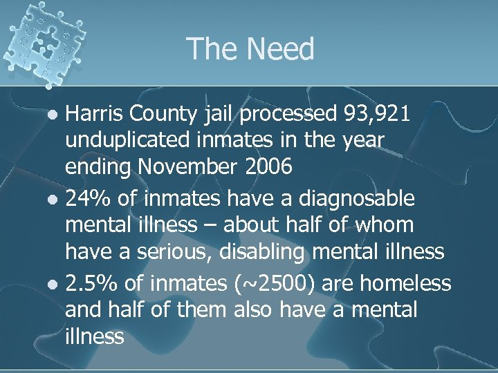 The Need Harris County jail processed 93, 921 unduplicated inmates in the year ending