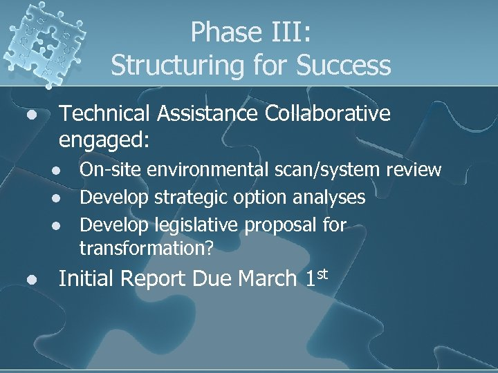 Phase III: Structuring for Success l Technical Assistance Collaborative engaged: l l On-site environmental