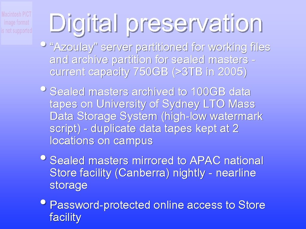 """Digital preservation • """"Azoulay"""" server partitioned for working files and archive partition for sealed"""