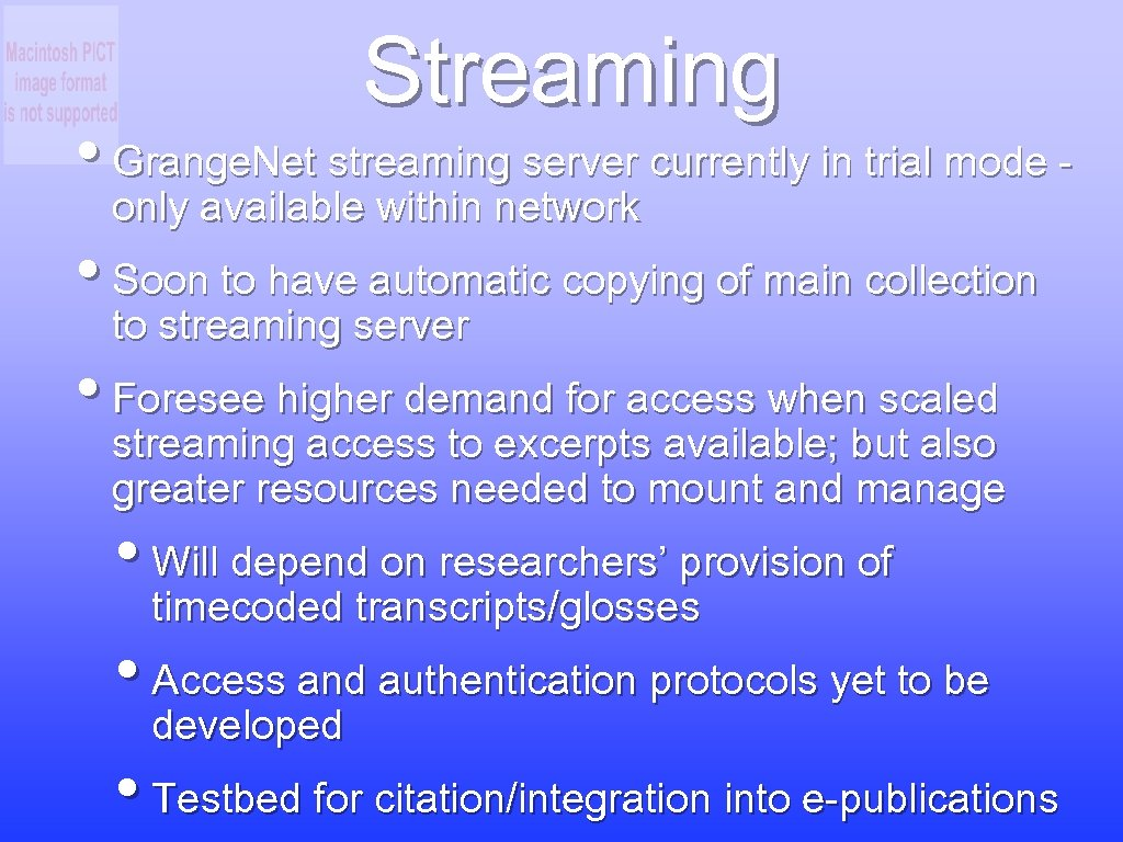 Streaming • Grange. Net streaming server currently in trial mode - only available within