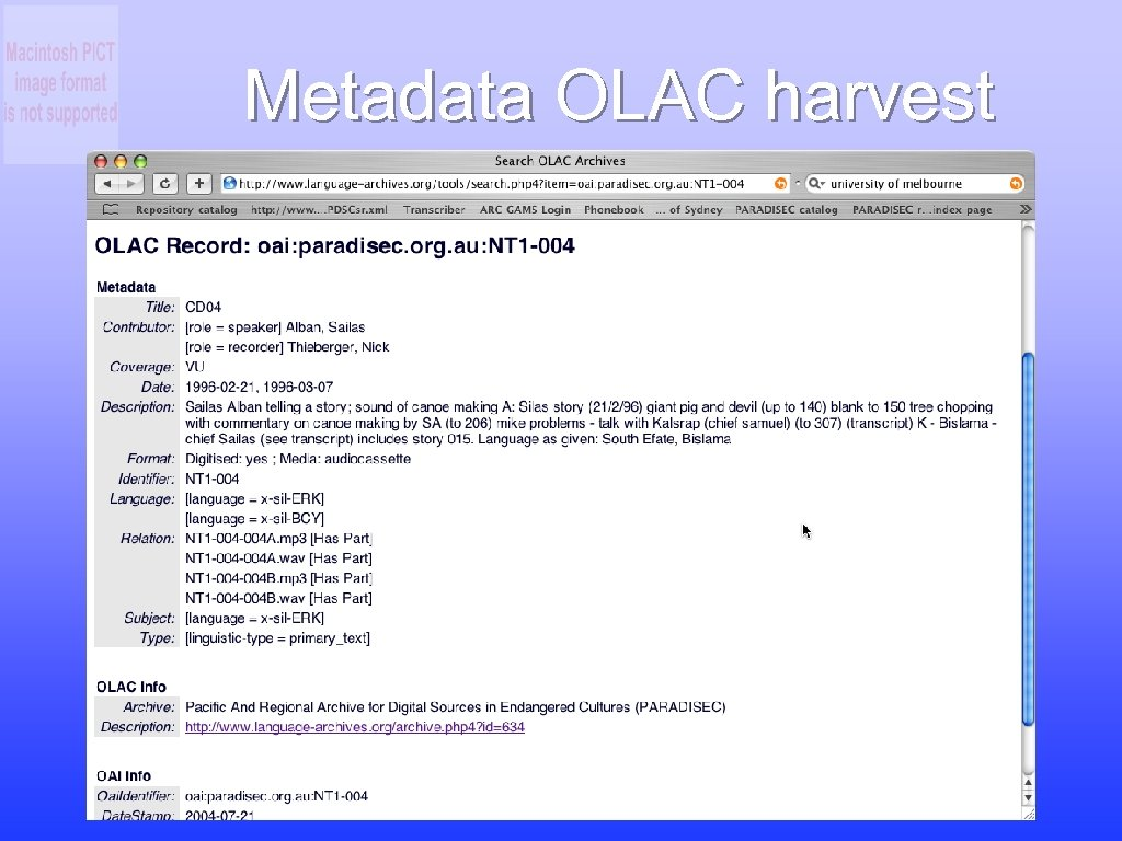 Metadata OLAC harvest