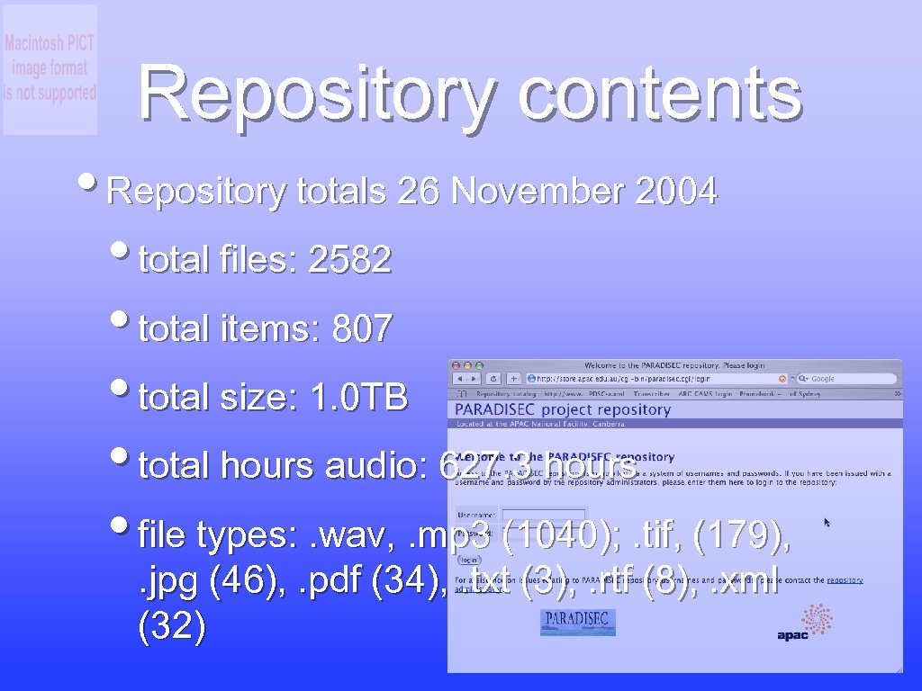 Repository contents • Repository totals 26 November 2004 • total files: 2582 • total