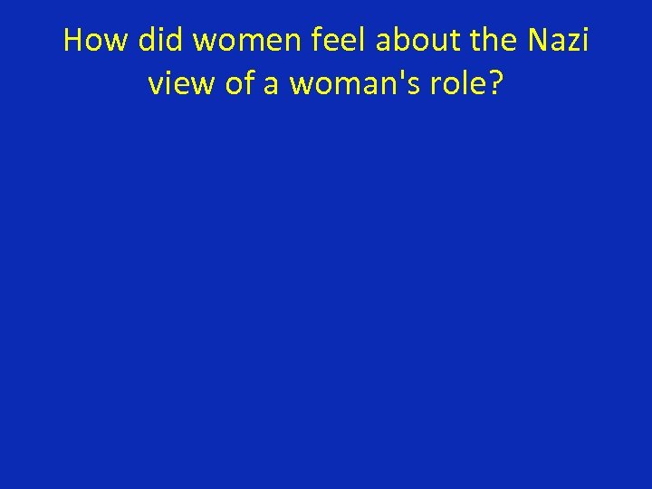 How did women feel about the Nazi view of a woman's role?
