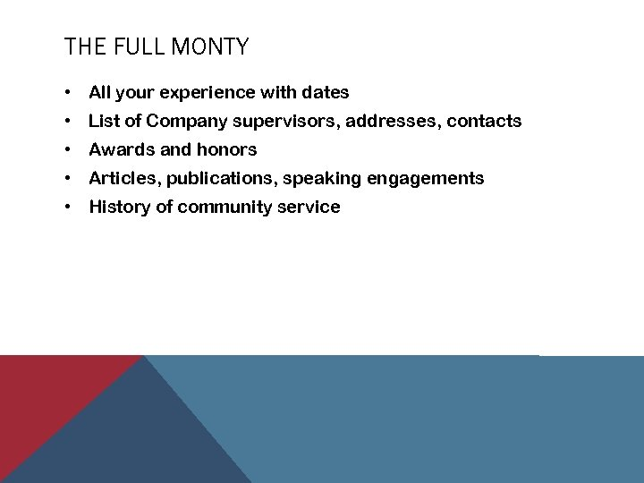 THE FULL MONTY • All your experience with dates • List of Company supervisors,