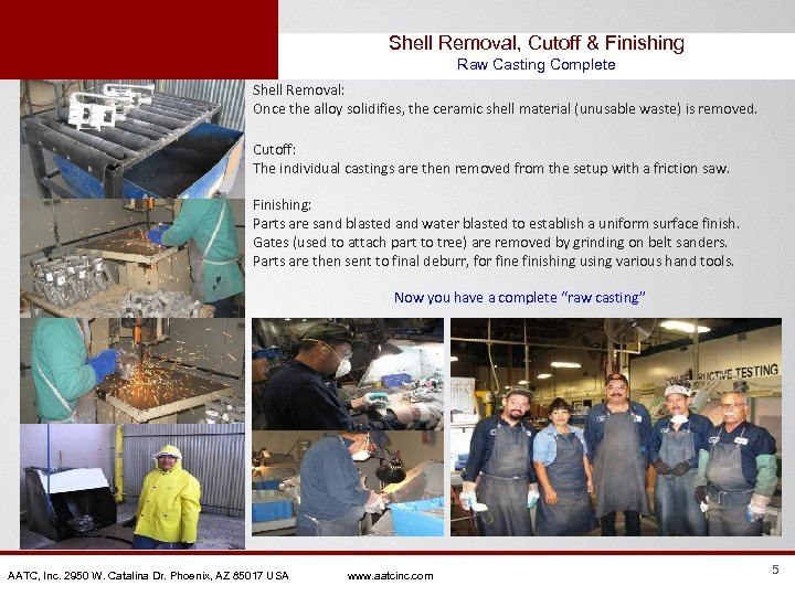 Shell Removal, Cutoff & Finishing Raw Casting Complete Shell Removal: Once the alloy solidifies,