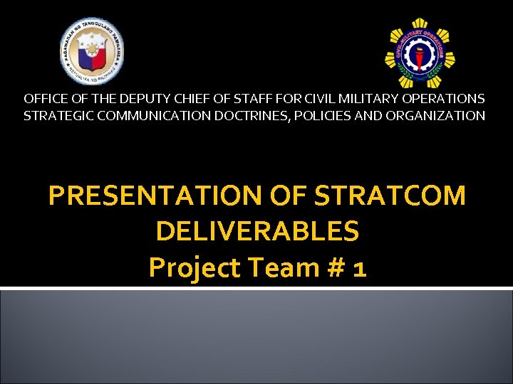 OFFICE OF THE DEPUTY CHIEF OF STAFF FOR CIVIL MILITARY OPERATIONS STRATEGIC COMMUNICATION DOCTRINES,