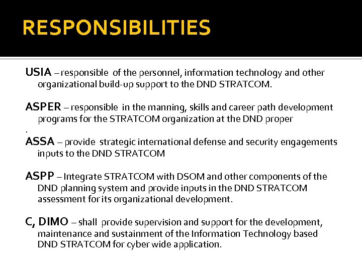 RESPONSIBILITIES USIA – responsible of the personnel, information technology and other organizational build-up support