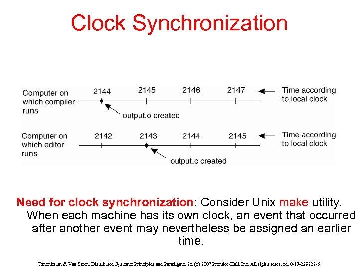 Clock Synchronization Need for clock synchronization: Consider Unix make utility. When each machine has