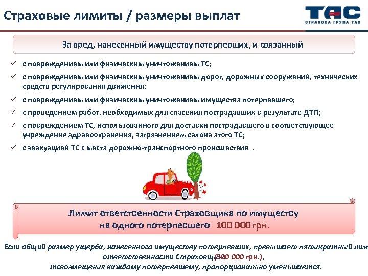 Страховые лимиты / размеры выплат За вред, нанесенный имуществу потерпевших, и связанный ü с