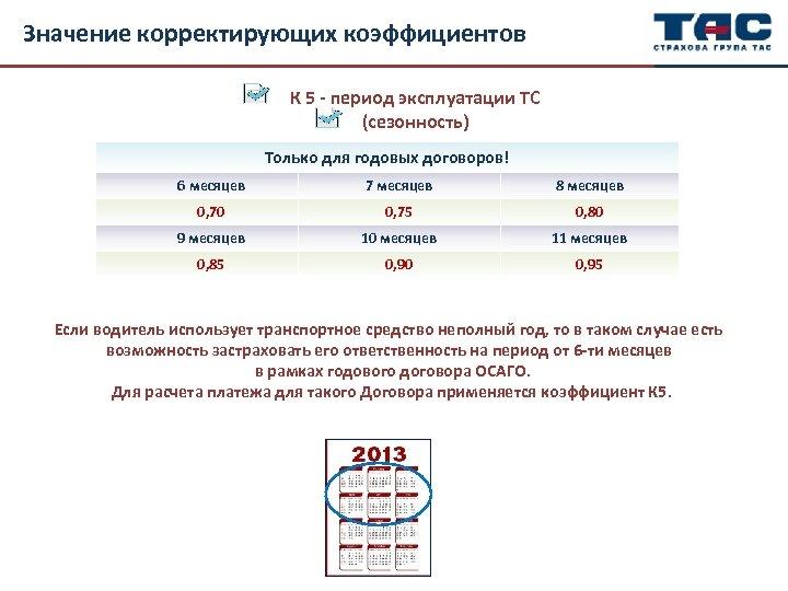 Значение корректирующих коэффициентов К 5 - период эксплуатации ТС (сезонность) Только для годовых договоров!