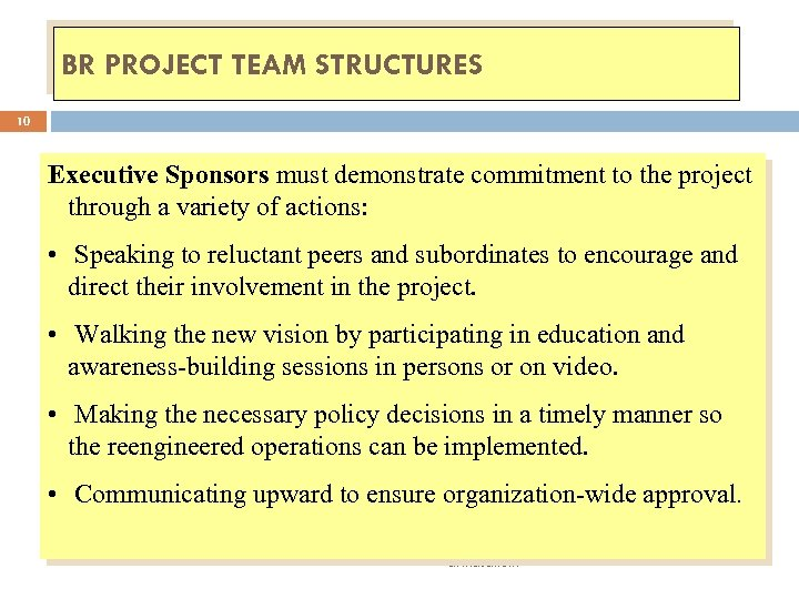 BR PROJECT TEAM STRUCTURES 10 Executive Sponsors must demonstrate commitment to the project through