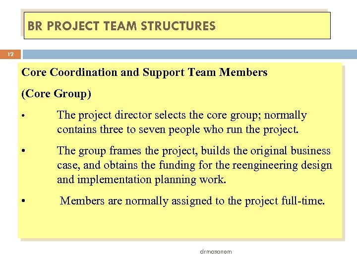 BR PROJECT TEAM STRUCTURES 12 Core Coordination and Support Team Members (Core Group) •