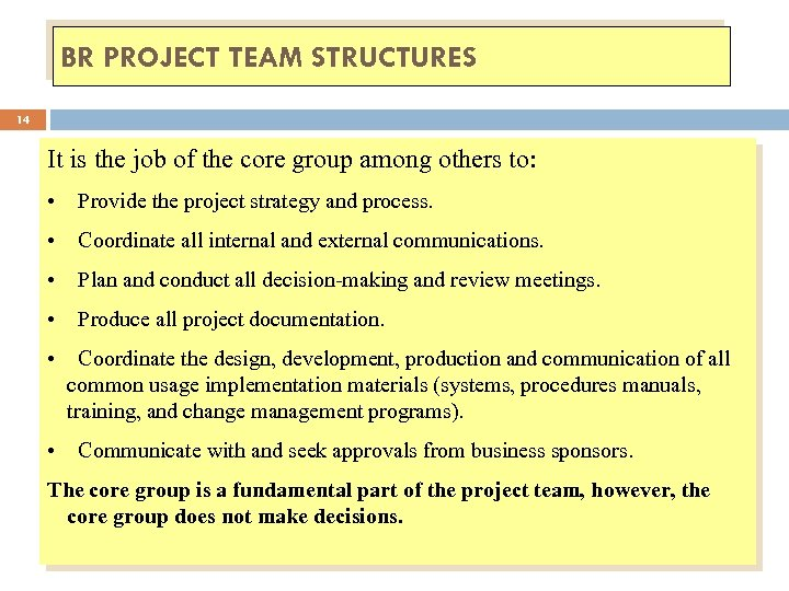 BR PROJECT TEAM STRUCTURES 14 It is the job of the core group among