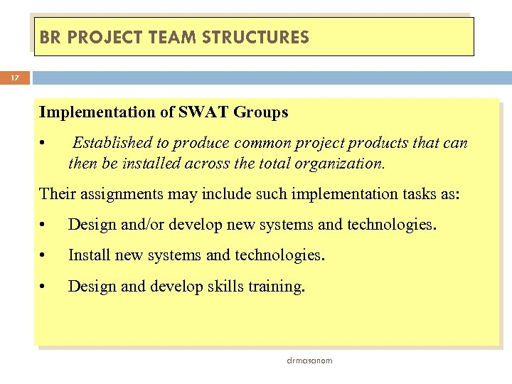 BR PROJECT TEAM STRUCTURES 17 Implementation of SWAT Groups • Established to produce common