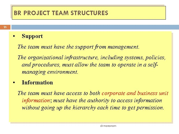 BR PROJECT TEAM STRUCTURES 21 • Support The team must have the support from