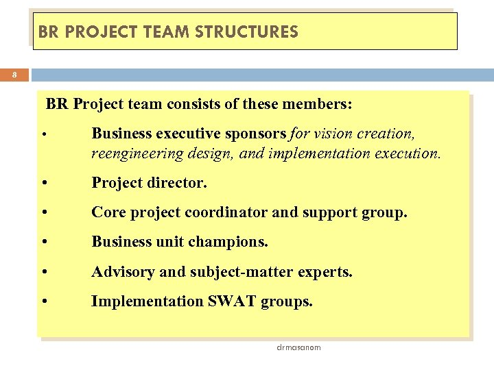BR PROJECT TEAM STRUCTURES 8 BR Project team consists of these members: • Business