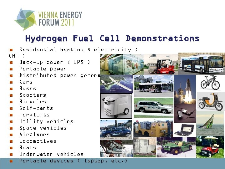 Hydrogen Fuel Cell Demonstrations Residential heating & electricity ( CHP ) Back-up power (