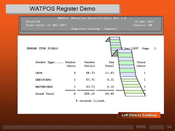 WATPOS Register Demo WATPOS (Waterloo Point-Of-Sale) Rev 3. 0 09: 23: 04 Trans Date: