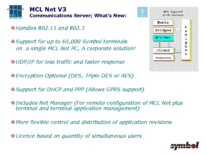 MCL Net V 3 Communications Server; What's New: v Handles 802. 11 and 802.