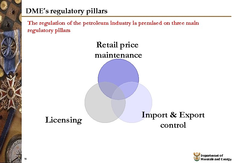 DME's regulatory pillars The regulation of the petroleum industry is premised on three main