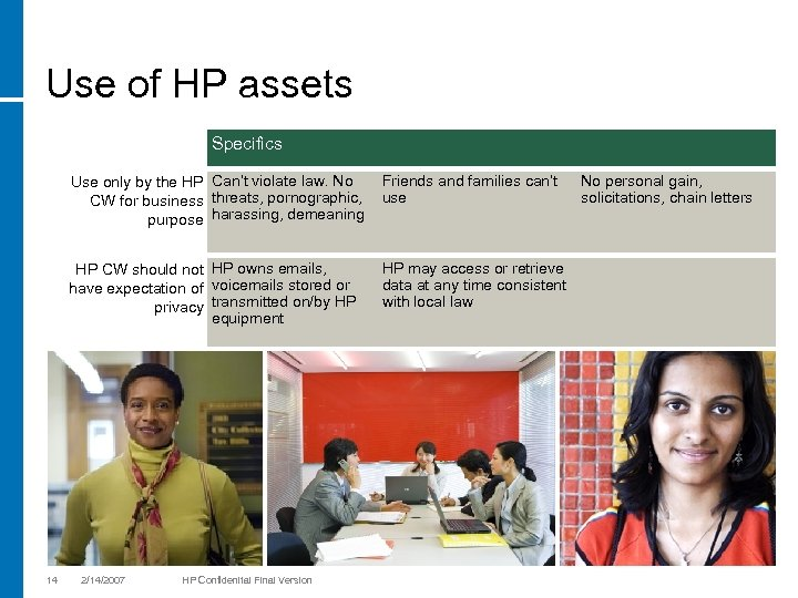 Use of HP assets Specifics Use only by the HP Can't violate law. No