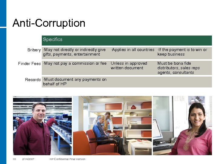 Anti-Corruption Specifics Bribery • May not directly or indirectly give gifts, payments, entertainment Finder