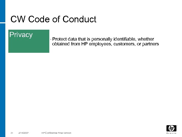 CW Code of Conduct Privacy 31 2/14/2007 • Protect data that is personally identifiable,