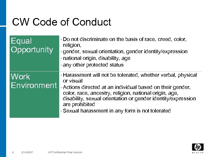 CW Code of Conduct Equal Opportunity • Do Work Environment • Harassment 6 2/14/2007