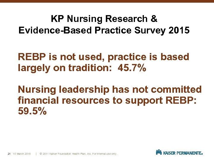 KP Nursing Research & Evidence-Based Practice Survey 2015 REBP is not used, practice is