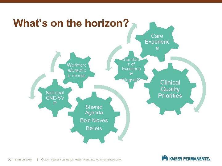 What's on the horizon? Care Experienc e Workforc e/practic e model National CNE/SV P