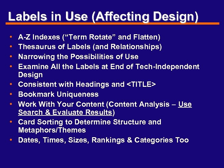 """Labels in Use (Affecting Design) • • • A-Z Indexes (""""Term Rotate"""" and Flatten)"""