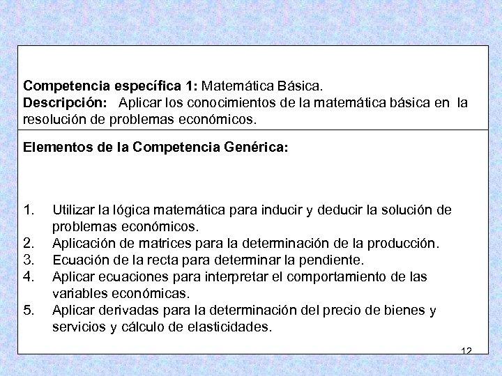 Competencia específica 1: Matemática Básica. Descripción: Aplicar los conocimientos de la matemática básica en