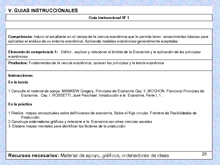 V. GUIAS INSTRUCCIONALES Guía instruccional N° 1 Competencia: Inducir al estudiante en el campo