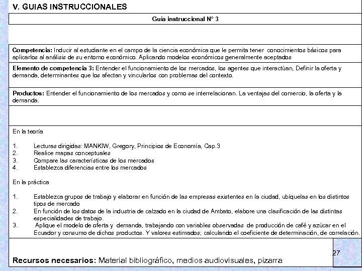 V. GUIAS INSTRUCCIONALES Guía instruccional N° 3 Competencia: Inducir al estudiante en el campo