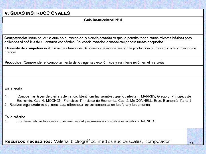 V. GUIAS INSTRUCCIONALES Guía instruccional N° 4 Competencia: Inducir al estudiante en el campo