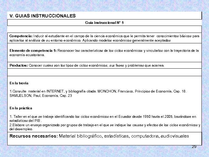 V. GUIAS INSTRUCCIONALES Guía instruccional N° 5 Competencia: Inducir al estudiante en el campo