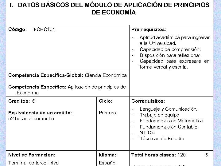 I. DATOS BÁSICOS DEL MÓDULO DE APLICACIÓN DE PRINCIPIOS DE ECONOMÍA Código: FCEC 101