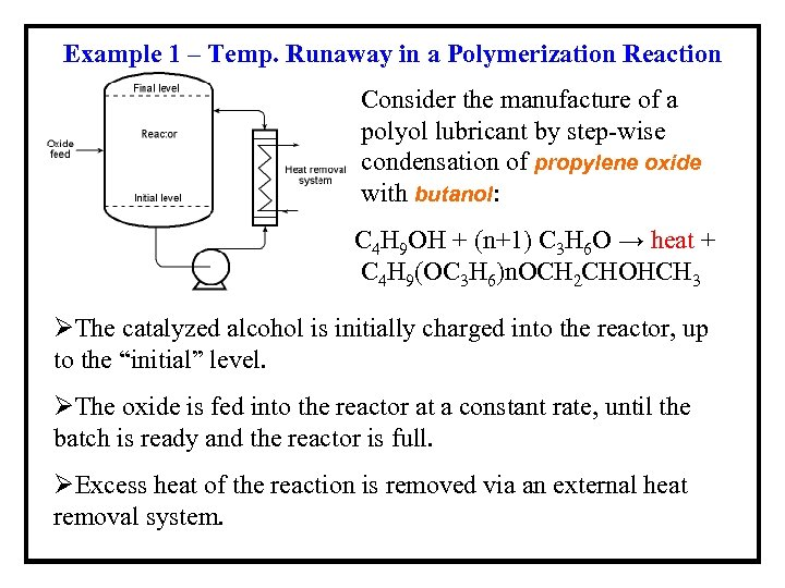 Example 1 – Temp. Runaway in a Polymerization Reaction Consider the manufacture of a
