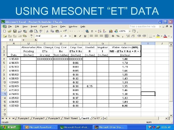 """USING MESONET """"ET"""" DATA"""
