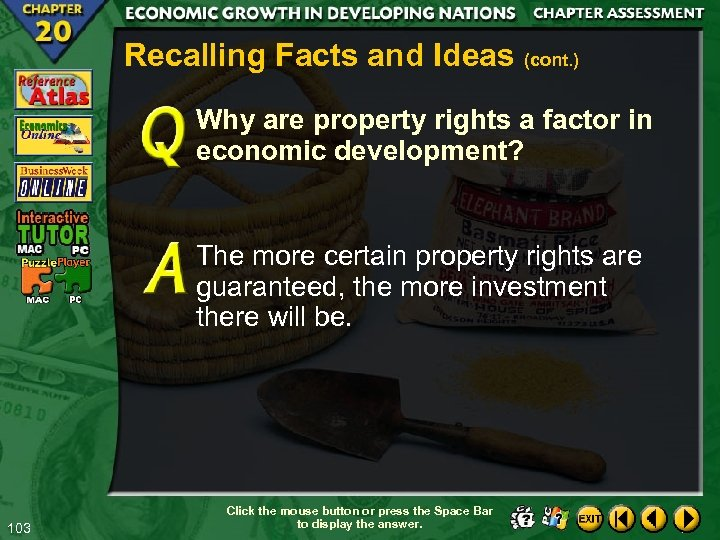 Recalling Facts and Ideas (cont. ) Why are property rights a factor in economic