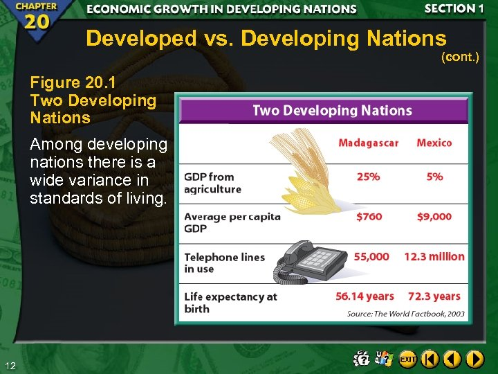 Developed vs. Developing Nations (cont. ) Figure 20. 1 Two Developing Nations Among developing