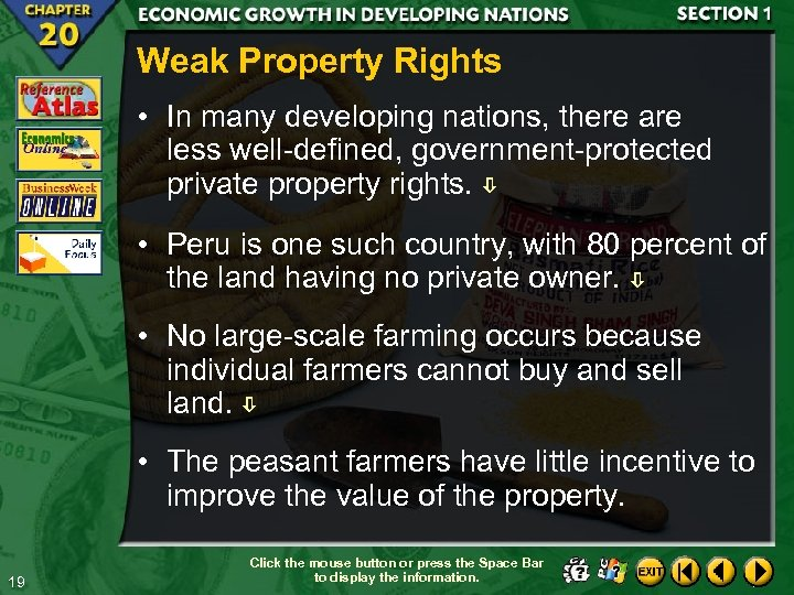 Weak Property Rights • In many developing nations, there are less well-defined, government-protected private
