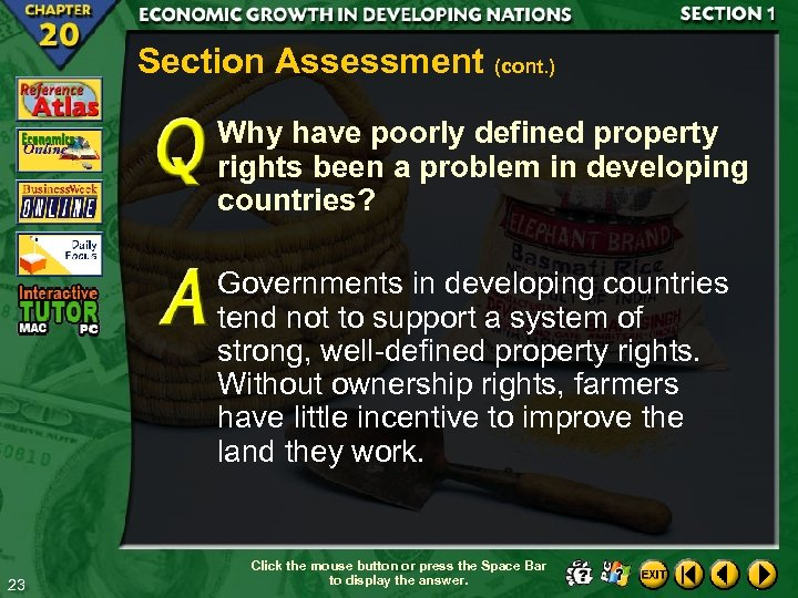 Section Assessment (cont. ) Why have poorly defined property rights been a problem in